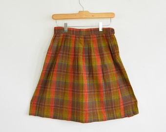 Vintage Wool Plaid Pleated School Girl Skirt XS 1960's Knee Length