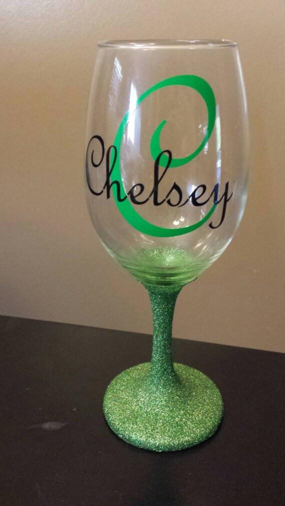 Wine Glasses For Wedding Gift : Green glittered wine glassWedding GiftPersonalized Wine Glasses ...
