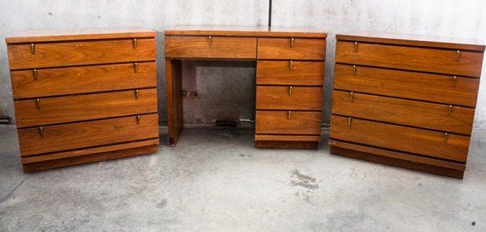 Mid Century Modern Bedroom Set Dresser X 2 Desk American Matching 60s Walnut Vintage Free