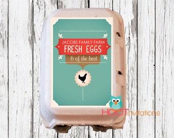 Custom Egg Carton Labels to print at home - A4 sheet