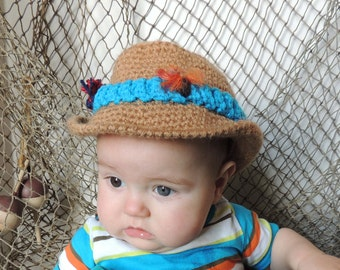 Crochet baby hat, Fishing Hat, Photo Prop, Fadora, Sports hat, Baby hat, Tan crochet hat Infant hat crochet fishing hat, Baby crochet hat