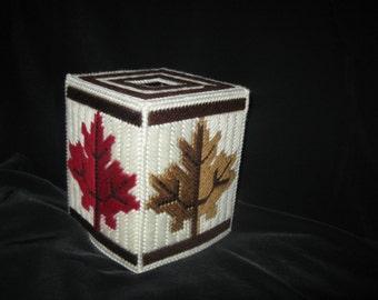 Plastic Canvas Autumn Leaves Boutique Tissue Box Cover