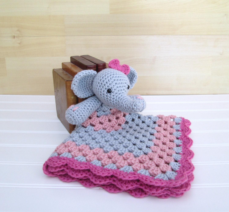 Amigurumi Elephant Blanket : Crochet Gray Elephant with Pink Lovey Security Blanket