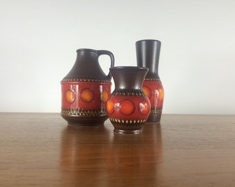 3 w-Germany vases 12, 17 and 21cm