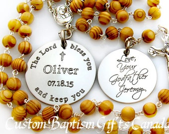 Baptism Gift for Godparents. Baptism. Baptism Gift. Baptism Boy. Custom. Personalized. Catholic Jewelry. Confirmation Gift. Rosary. CG1-1Dbl