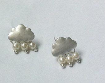 Silver Cloud Rain Drop Earrings