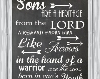 Bible verse canvas, bible wall art, Sons are a heritage from the Lord, home decor