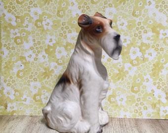 Vintage Bisque Schnauzer Dog Figurine Statue