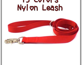 CHOOSE YOUR COLOR Nylon Dog Leash/ Nylon Dog Lead/ 1 inch - 34/ inch -5/8 inch