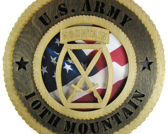Army 10th Mountain Laser Cut Military Wall Plaque with American Flag - May be Personalized or Customized