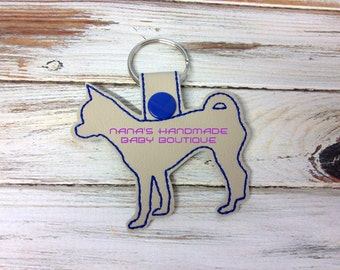 Chihuahua - In The Hoop - Snap/Rivet Key Fob - DIGITAL Embroidery Design