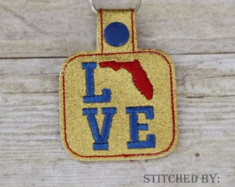 FLORIDA LOVE  - In The Hoop - Snap/Rivet Key Fob - DIGITAL Embroidery Design