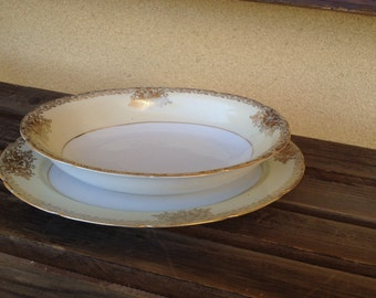Gold Trim Serving Bowl, Fine China Bowl, Goldena China Oval Bowl made in Japan Oval Serving dish bowl, Golden Kitchen, Gold Serving Dish