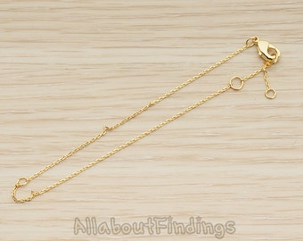 BSC248-G // Glossy Gold Plated Pre-Made Bracelet Chain Findings, 1 Pc