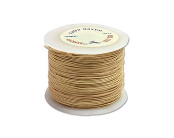 Natural Waxed Cotton Cord .5mm 100 Meter Spool of Indian Waxed Cotton Cordage