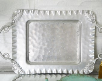 ALUMINUM TRAY Cromwell Hand Wrought Aluminum 1940s Home Decor Tray