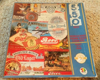 Vintage, 550 pc. Jigsaw puzzle.  What's in a Name?  Old beer logos by American publishing