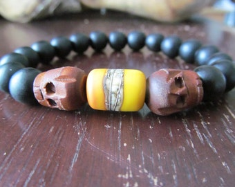 Men's Wood Bracelet, Black Ebony, Yellow and Silver Lampwork Glass, Men's Bracelet, Men's Gift, Beaded Men's Bracelet, Men's Jewelry