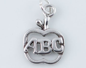 Apple ABC Charm, Alphabet, Teacher Charm, Sterling Silver Charm, Apple Pendant, Teacher Gift, Open Apple Charm, Charm Bracelet,  CM023GD