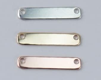 16 x 3mm 20 GAUGE Gold Filled, Sterling Silver,Rose Gold Filled Rectangle Bar,Short Bar Nameplate,Y Necklace Connector, Stamping ST62QR