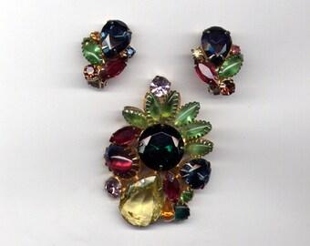 Vintage Large Juliana (?) Demi Parure Brooch & Clip on Earrings