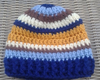 Crochet baby boy striped hat, toddler and child sizes, multi stripes, baby boy beanie, brown, blue, yellow striped beanie, striped boy