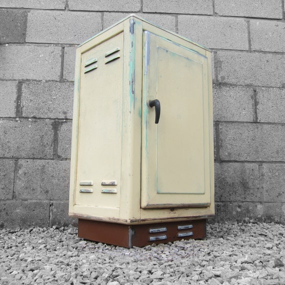 metal industrial kitchen cabinet 1950s vintage pale yellow