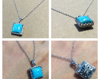Dripping in Kingman  Blue ! Sterling Silver 10 mm Cushion Kingman Turquoise Square Pendant .