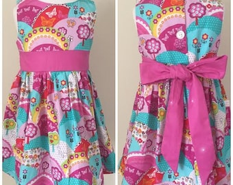 Girl's Dress,  Birthday Party Dress, Rainbows,Little Princess tea party, Baby Shower Gift, Girls Christening Dress, Birthday Gift