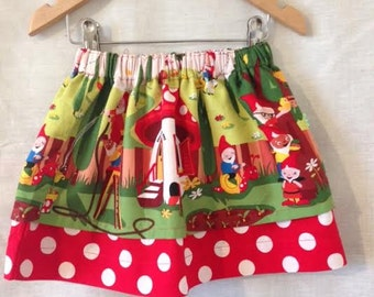 Girls Skirt,  Gnomes and Elves - Kitsch tea party skirt - Vintage clothing - Toddler Skirt - Twirly skirt.