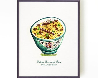 Food illustration, Food artwork, Watercolor painting, Kitchen print, Culinary Print, Indian food Pulao basmati rice, Buy 2 get 1 free