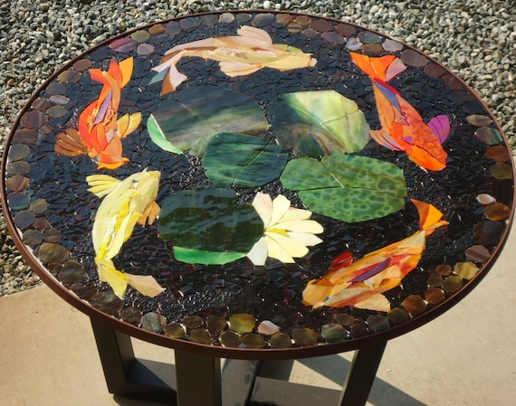 Made to order 30 koi mosaic table top patio by paradisemosaics for Koi fish pool table