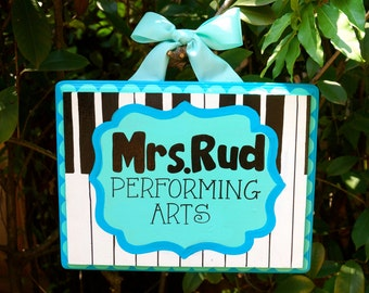 Personalized Performing Arts Teacher Sign with Piano Theme