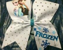 Elsa and Anna cheer bow, frozen cheer bow, texas cheer bow, big cheer bow
