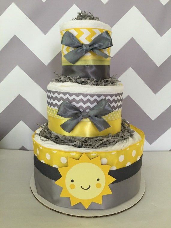 You Are My Sunshine 3 Tier Diaper Cake In Yellow And Gray You