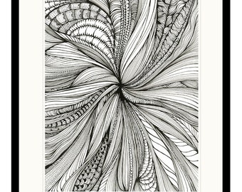 Art Print of An Original Ink Drawing Psychedelic Doodles Zentangle Ink