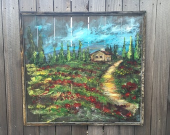 made to order-Tuscany painting old window screen ,decorate your outdoor,Italy views