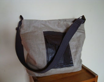 Handmade Linen and Leather Bag