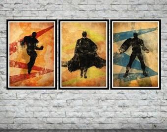 "Superheroes League Set 1- IronMan, Batman, Captain America  3 X A3 posters (each one 42 x 29,7 cm / 16,5"" x 11,7'')"