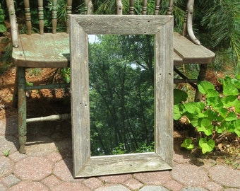 Rustic Mirror Reclaimed Barnwood Wall Hanging
