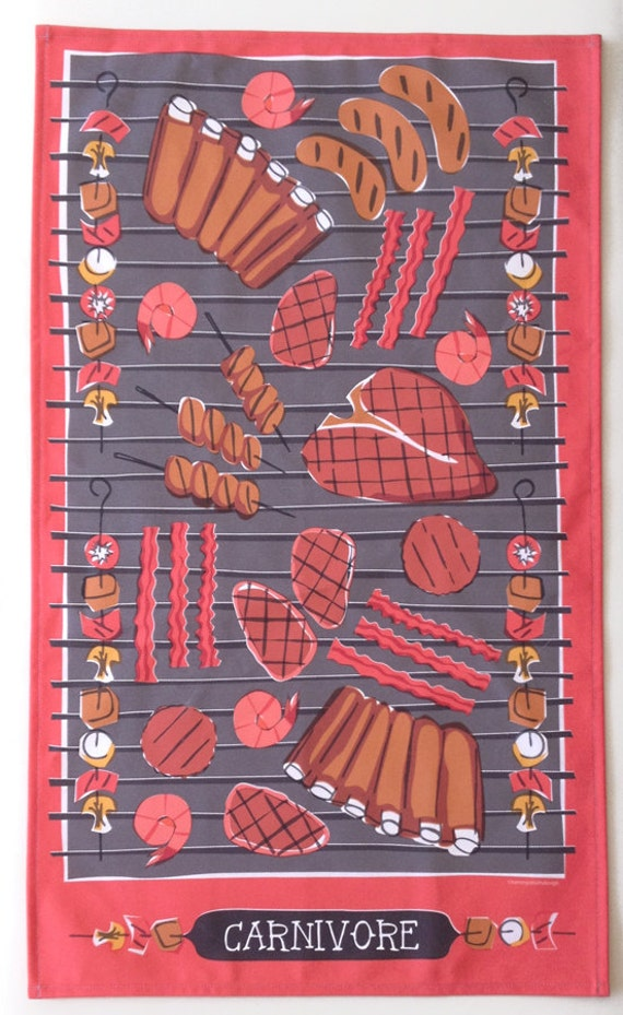 Carnivore Tea Towel-Home Goods-Kitchen-Red-Grey-Black-17 x 28