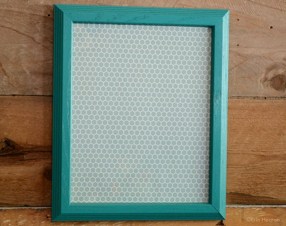 Teal 8x10 Picture Frame Painted Upcycled Wood Frame Aqua