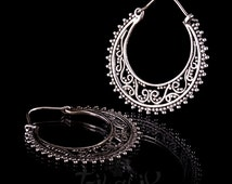 Silver Filigree Hoop Earrings, Hoop Earrings,Tribal Jewelry, Boho Earrings, 925 Silver  (code 15)