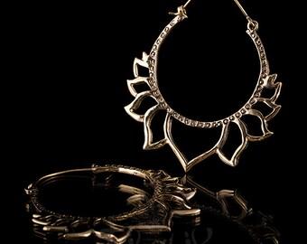 Lotus brass hoop earrings, Brass hoop earrings, lotus earrings, floral earrings, big hoops, tribal jewelry, tribal earrings, 1mm 18g (338)
