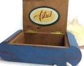 RUSTIC BOX, Blue Cigar Holder, Storage Box, Rustic Blue Box, Men's Trinket Box, Hipster, Cigar Box, Unique Gift
