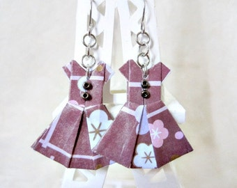Origami Jewelry - Paper Dress Earrings - Paper Anniversary - Paper Jewelry - Origami Earrings