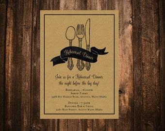 Kraft Rehearsal Dinner Invitation; Utensils; Fork & Spoon; Printable OR set of 25