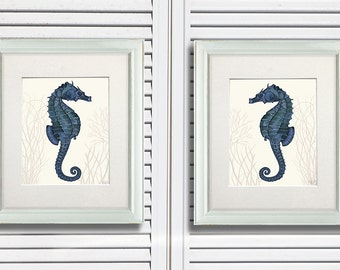 Seahorse Prints Blue On Cream Set of 2, Nautical Print Beach Decor bathroom Decor Beach House Decor Seahorse wall decor Digital Painting
