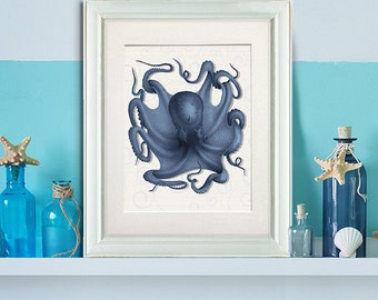 Octopus 5, Nautical print sea life poster beach home decor wall decor marine painting nautical decor bathroom decor Bathroom art ocean decor