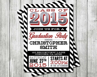 Graduation Invitation - 2015 Graduation Invite - Class of 2015 - Graduation Announcement - Boy Graduation Invitation - DIGITAL FILE